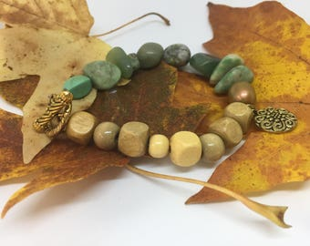 Wood and Stone bracelet with brass clasp and detail