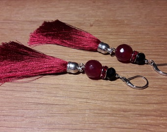 Womens earring from agate stone, crystals and fringe, 10 cm length