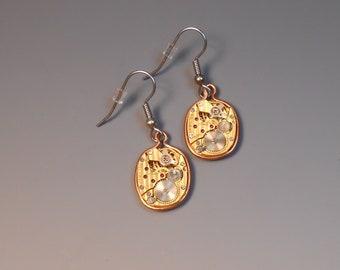 Steampunk Earrings Watch Movement Shepherd Hook Recycled Wrist Watch Face Earrings Copper