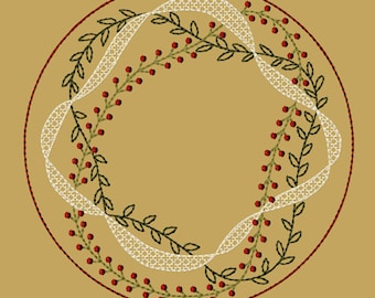 MACHINE EMBROIDERY-Prim Vine Candle Mat-8-Inch-Fill-Instant Download