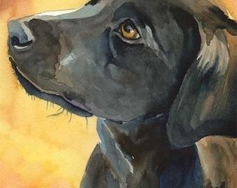 Labrador Retriever Art Print of Original Watercolor Painting - 11x14 Black Lab