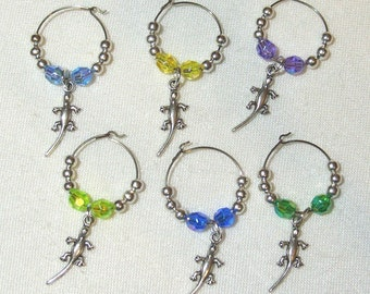 Wine Glass Charms - Lizards
