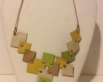 Green tan yellow short mosaic leather necklace