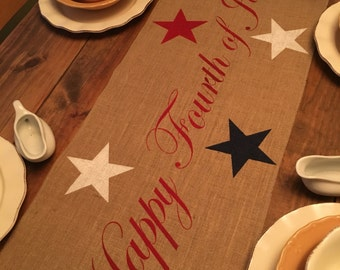Burlap Table Runner 4th of July runner Holiday decorating, Home decor, July 4th, Independence Day