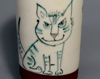 Hand made, Hand Painted,Cat Cup, Tumbler