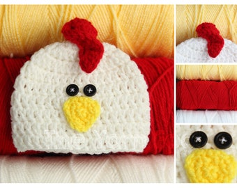 Crochet Chicken Hat- Newborn, Infant, Toddler, Youth, and Adult Sizes