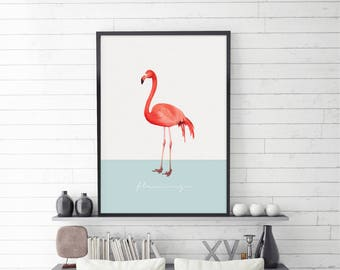 Flamingo Tropical, Illustration, Poster, Pink Flamingo Art, Modern Art, Digital Illustration, Instant Download, Digital Download, Large Size