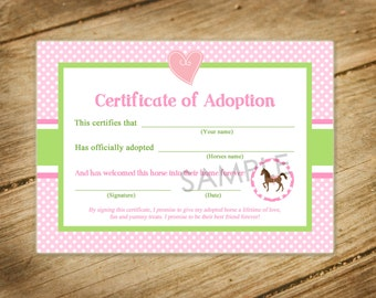 Pony adoption etsy pretty in pink horse themed matching pony adoption certificate yadclub Choice Image