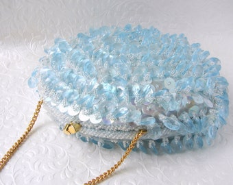 60s Vintage Chandelier Clutch Powder Baby Blue Acrylic Crystal Fringe Evening Bag Beaded Purse Sequin Gold Clasp Wedding Handbag Formal Prom