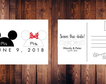 Disney Wedding Save the Date Postcard