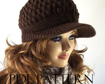 KNITTING HAT PATTERN Newsboy Hat - Claire Newsboy Hat - Knitted Winter Brim Cap woman Hat pdf pattern Instant Download