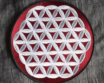 Patch Flower of life mandala badge crystal grid coaster mat embroidered sew on fabric bag handmade in red, white grey