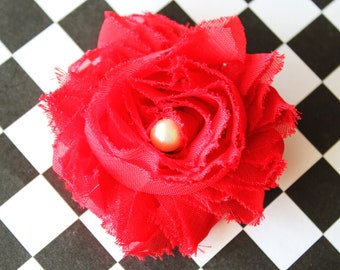 Red Shabby Chiffon Newborn Headband, Baby Headband, Toddler Hair Clip, Girls Hair Clip, Teen and Adult Hair Clip, Photo Prop!