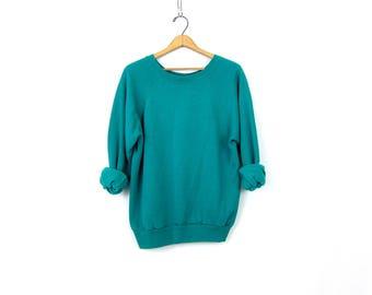 Turquoise Green Raglan sweatshirt 1980s slouchy sweater Basic Casual Sweater Plain shirt ATHLETICS Sports Sporty Top Women's Medium Large