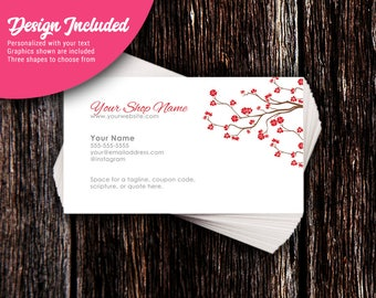Business Cards - Custom Business Cards - Personalized Business Cards - Mommy Calling Cards - Red Blossom