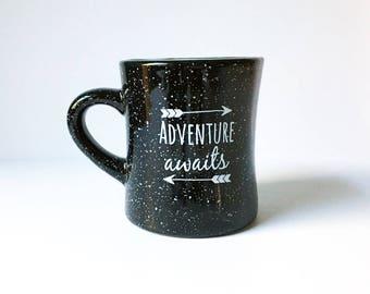 Coffee Mug Camping Mug Stoneware Mug 10 oz Mug Ceramic Mug Adventure Awaits Mug Coffee Cup Campfire Mug Cocoa Cup Black Speckled Mug