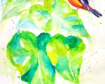 Elephant Ear Plant Watercolor Painting, Original Artwork, Original Watercolor Painting, Tropical Plant Art, Tropical Watercolor, Red Bird