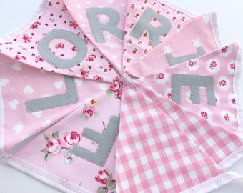 Personalised Name Personalized Name Bunting Banner Grey & Pink White/Pink Floral Stars Spots Strips Hearts Gingham Spots - Priced per flag