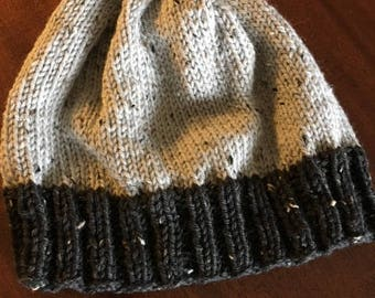 Hand knitted tweed wool hat