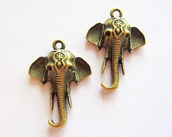6 Elephant pendant jewelry charms antique bronze metal earring dangles ethnic charms (BB6)