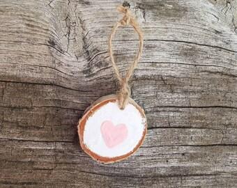 Woodland rustic wood pink heart ornament, Christmas ornament, hand painted ornament, birch wood slice ornament, pink heart ornament