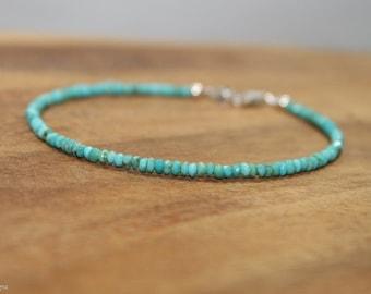 Dainty Sleeping Beauty Turquoise Bracelet, Beaded, Layering, Sleeping Beauty Turquoise Jewelry, December Birthstone, Gemstone Jewelry