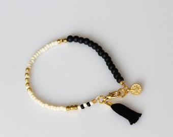 Boho chic bracelet friendship bracelet Tassel Bracelet ONE beaded  bracelet-Egg shell  & Black