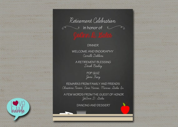 Teacher School Retirement Party Program Invitation Chalkboard