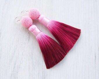 Ombre pink burgundy tassle earrings - Statement beaded ball earrings - Bright trendy earrings - Lightweight Dangle long silk tassle earrings