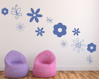 Flower Decals | Vinyl Wall Decals | Butterfly Decals | Girls Room Decor | Doodle Wall Decals | Flower Variety | Nursery Decals | 22517