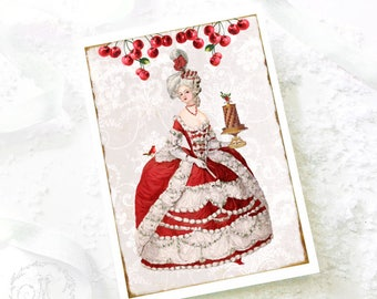 Marie Antoinette, Christmas card, red cherries, Christmas cake, robin, French vintage style holiday card, blank inside