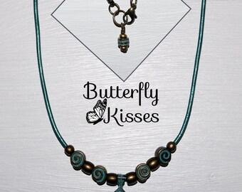 Oxidized Leaf necklace