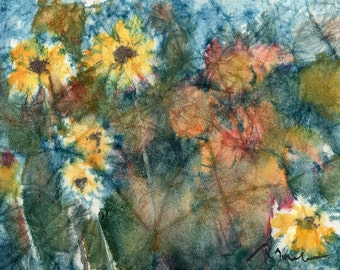 Batik Style No.38/Flowers, limited edition of 50 fine art giclee print from my original watercolor