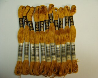 Embroidery Floss DMC Cotton 6 Strand Cotton #783 Matches Old Gold Wool Blend Felt