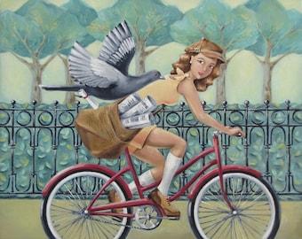 "Newspaper Girl & Bicycle Art Print - Teal Mint Decor - ""Messengers"""
