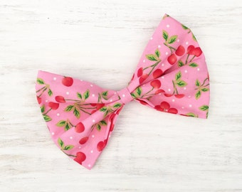 Pink with red cherry print large hair bow