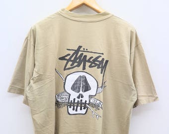 Vintage STUSSY Skull Streetwear Hip Hop Brown Tee T Shirt Size L