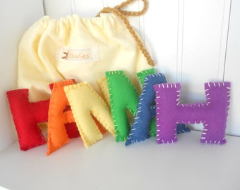 Alphabet Felt Letters, Personalize, Natural Eco Friendly, Waldorf Soft Plush Educational Set of 7 Letters, Choose  Letters, Back To School