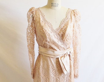 Vintage 80's Champagne Lace Wedding Dress