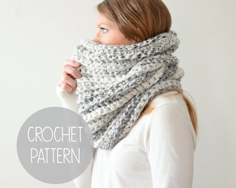 crochet pattern chunky cowl - the hickory - instant download