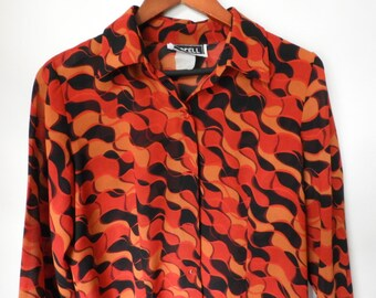 Red & Black Fire Waves Blouse. 80s nigthy party.