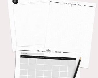 Monthly Planner Printable, Monthly Planner Kit, Printable Planner Inserts, Monthly Schedule, Monthly Agenda, Productivity Planner, Minimal