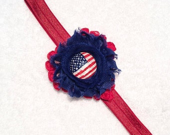 July 4th Floral Shabby Headband - Shabby Red Heart Flower Blue Flower Shabby - Flag Center - Red FOE - Photo Prop Floral - Memorial Day