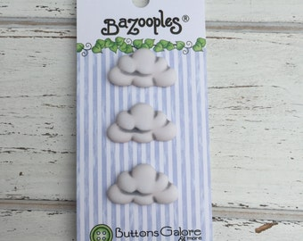 Cloud Buttons, Carded Novelty Buttons by Buttons Galore, Bazooples Collection, Set of 3