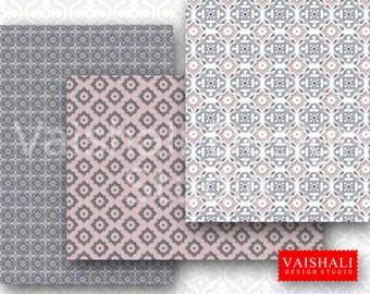 Impresiones de azulejo coordinado conjunto color rosa y gris, de patrones sin fisuras, 4 hojas, impresiones digitales