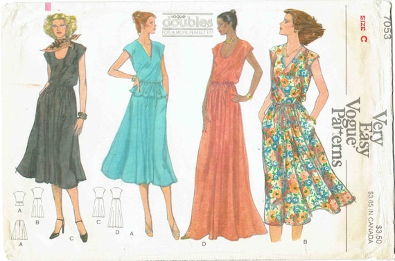 Very easy vogue 70s dress pattern v neckscoop neck blouson maxi very easy vogue 70s dress pattern v neckscoop neck blouson maxi dress above knee tie waist top flared skirt size c 10 12 bust 325 34 from ccuart Image collections