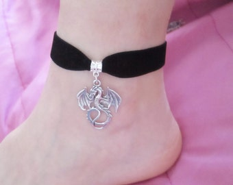 Dragon ankle bracelet, dragon foot bracelet