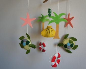 Baby sea turtle mobile, buoy, shell, coconut, seaweed and starfish felt