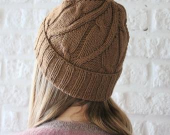 Knit hat cashmere wool, Cable knit hat, Merino wool hat, Knitted hats Women, Dad hat, Mustard beanie, Beanie Men, Boyfriend gift ideas