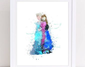 Disney Frozen Elsa Frozen Anna Poster Watercolor Disney Printable Frozen Watercolor Nursery Printable Watercolor Kids Room Decor Frozen Art